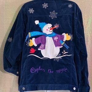 QUACKER FACTORY Blue Velvet Snowman Jacket 1X